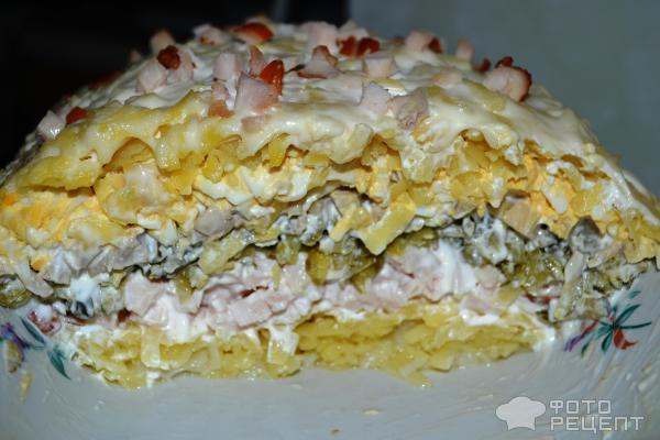 Рецепты салатов с копченой курицей слоеных 169