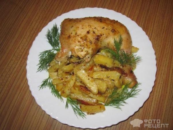 Курица с картошкой в чесночном соусе