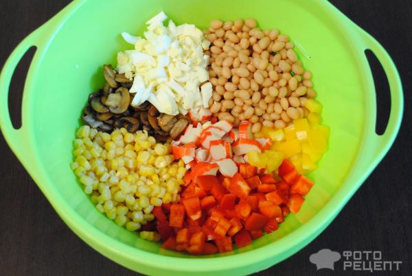 Салат кукуруза фасоль курица рецепт с фото