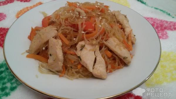 Фунчоза жареная с курицей и овощами рецепт