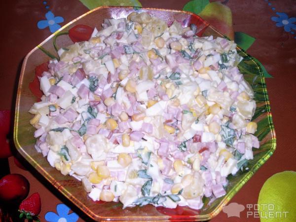 Салаты рецепты с с ананасом и ветчиной и сыром