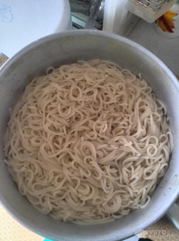 Спагетти со сливочной курицей фото