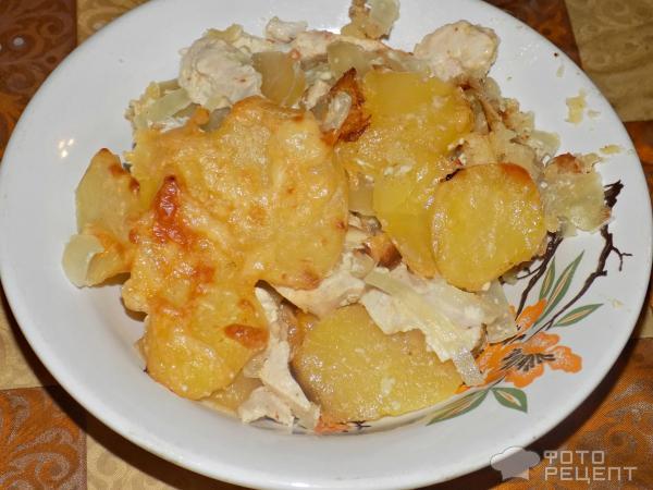 рецепт картошки с курицей с сыром в духовке