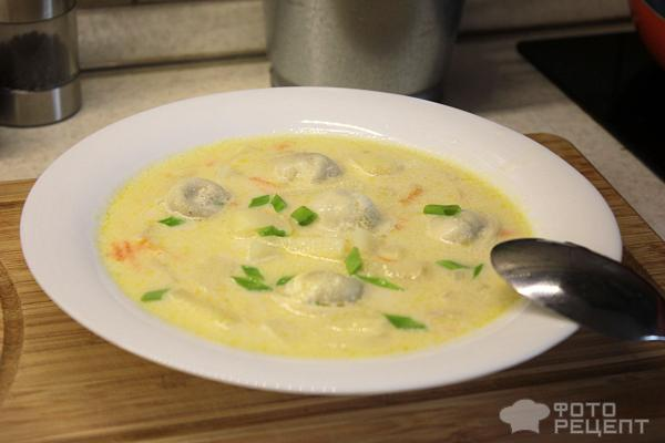 Суп с пельменями на курином бульоне фото