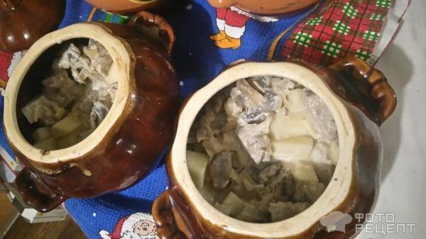 Жульен с картофелем в горшочке фото