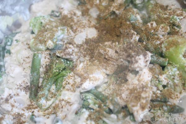 Куриное филе с брокколи и стручковой фасолью фото