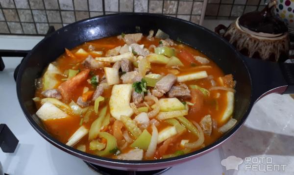 Соте из свинины с овощами
