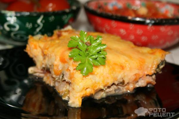 Запеканка картофельно-морковная с куриным мясом