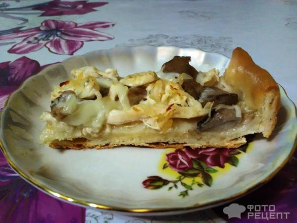 Пицца с грибами и курицей фото