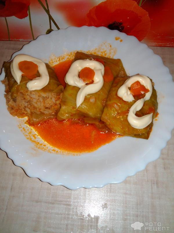 Голубцы из свино-говяжьего фарша в томатном соусе фото