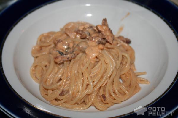 Спагетти со сливочной курицей