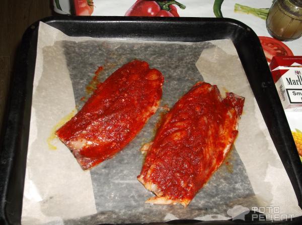 Запеченая скумбрия в соевом маринаде фото