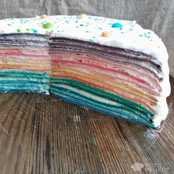 Блинный торт Радуга фото