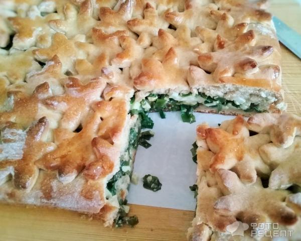Сдобный пирог с луком и яйцом фото