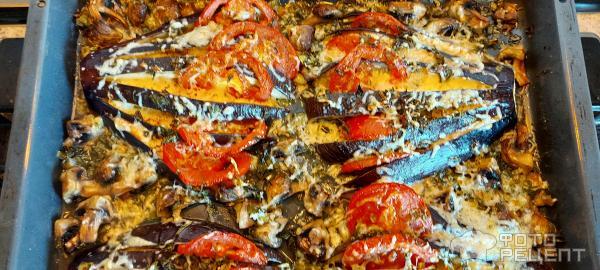 Баклажаны запеченные с сыром и шампиньонами фото