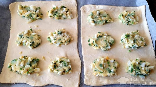 Слоёные пирожки с картошкой и зелёным луком и варёным яйцом