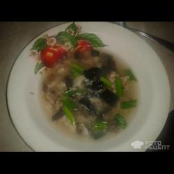 Рецепт: Суп с курицей, рыбой, шампиньонами и нори