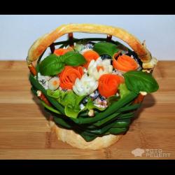 """Рецепт: Салат """"Корзинка с цветами"""""""