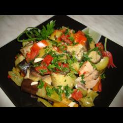 Куриное филе баклажаны и кабачки