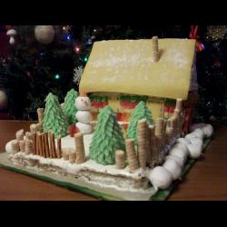 """Рецепт: Новогодний торт """"Волшебная избушка"""""""