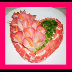 """Рецепт: Салат """"Цветущее сердце"""""""