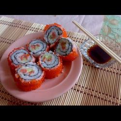 Рецепт: Роллы с красной икрой