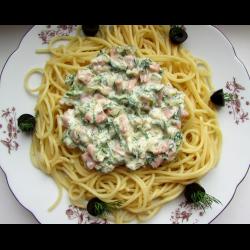 Рецепт: Спагетти с ветчиной и укропом