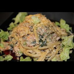 Рецепт: Паста баветте с креветками и сливочно-овощным соусом