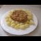 Фото Макароны с заправкой из мяса и грибов