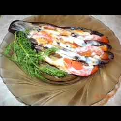Рецепт: Баклажаны запеченые с грибами и помидорами