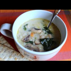 Рецепт: Грибной суп на бульоне с салом