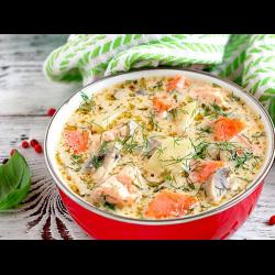 Рецепт: Сырный суп с форелью
