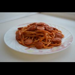 Рецепт: Спагетти с сосисками