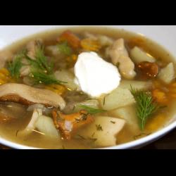 Рецепт: Легкий суп с перепелиными яйцами и сухими грибами