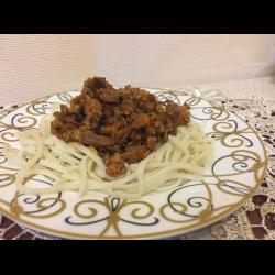 Рецепт: Паста с фаршем и грибами