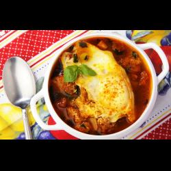 Рецепт: Чесночный суп с гренками и ветчиной