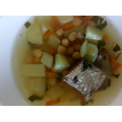 Рецепт: Суп из нута и говяжьих ребрышек