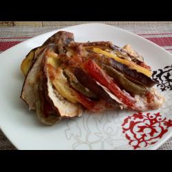 Рецепт: Баклажаны слоеные овощами