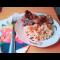 Фото Куриная печень с баклажанами и диким рисом