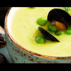 Рецепт: Тыквенный суп с мидиями