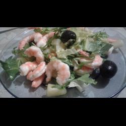 Рецепт: Легкий салат с креветками