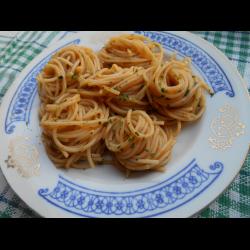 Рецепт: Спагетти с чесноком и томатом
