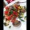 Фото Салат с баклажаном, грибами, помидорами и кукурузой