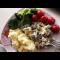 Фото Куриные сердечки в сметане с брокколи и помидорами
