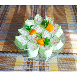 Рецепт: Закусочные рулетики из лаваша
