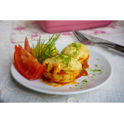 Рецепт: Горячие фаршированные яйца
