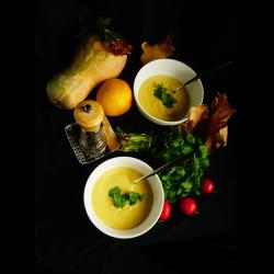 Рецепт: Суп-фондю с тыквой и сливками
