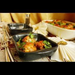 Рецепт: Мясные ежики на овощной подушке