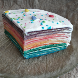 Рецепт: Блинный торт Радуга