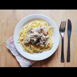 Рецепт: Беф-строганов из свинины с шампиньонами